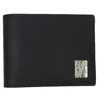 VERSACE COLLECTION Black Saffiano Leather Medusa Logo Bifold Wallet - S