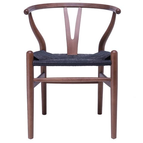 2xhome Woven Wood Armchair with Arms Open Back Mid Century Modern Office Dining Chairs Woven Black Seat