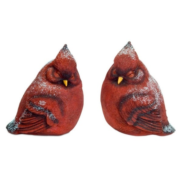 Pack of 4 Red Decorative Snowy Cardinals 8.25""