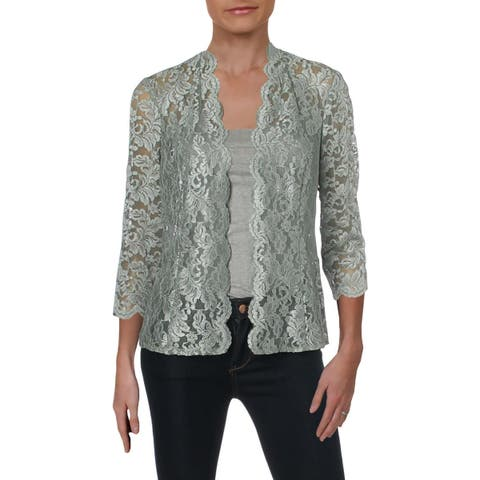 Alex Evenings Womens Cardigan Top Lace Sheer