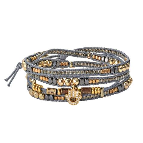 Handmade Shimmering Brass and Cubic Zirconia Hamsa Hand Beaded Leather Wrap Bracelet (Thailand)