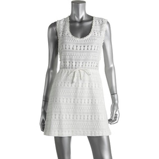 Minkpink Womens Partially Lined Crochet Dress Swim Cover-Up - S