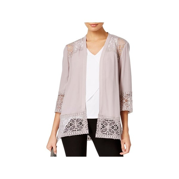 Shop Ny Collection Womens Cardigan Sweater Shell Lace Trim On Sale