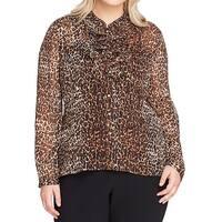 Tahari By ASL Brown Womens Size 2X Plus Cheetah Button Down Shirt