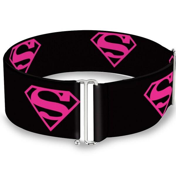 Superman Shield Black Hot Pink Cinch Waist Belt ONE SIZE
