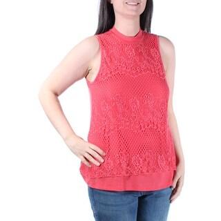 Womens Orange Sleeveless Crew Neck Casual Top Size L