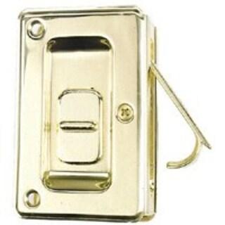 "Stanley 40-4040 Pocket Door Latch Pull Lock, 3-3/4"" x 2-3/8"", Bright Brass"