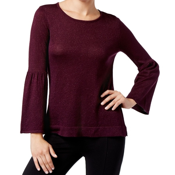 7d18fdedcd Shop Calvin Klein Aubergine Women Large Bell Sleeve Sweater - Free Shipping  On Orders Over  45 - Overstock.com - 27042628