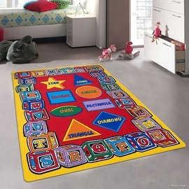 "Kids / Baby Room Area Rug. Learn ABC / Alphabet Letters Shapes, Star, Cube, Football, Bright Colorful Colors (3' 3"" x 4' 10"")"