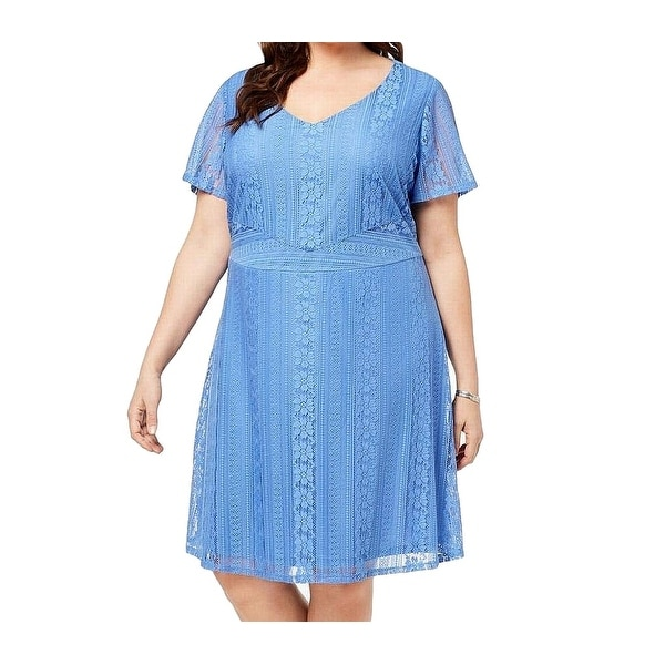 Ny Collection Blue Women's Size 1X Plus Floral Lace A-Line Dress