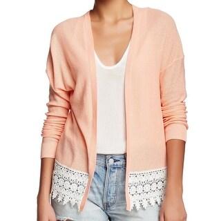 Wild Pearl NEW Orange Ivory Size XS Junior Cardigan Crochet Knit Sweater
