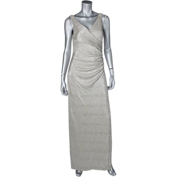 Lauren Ralph Womens Zilette Evening Dress Metallic Embellished