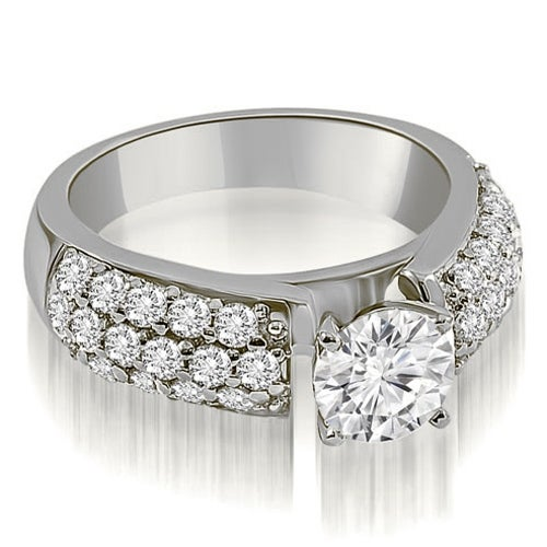 2.00 cttw. 14K White Gold Three Row Round Cut Diamond Engagement Ring