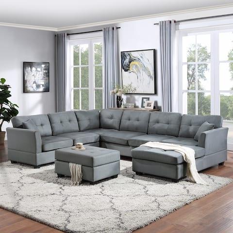 Contemporary U-shape Sectional Sofa with Storage Ottoman