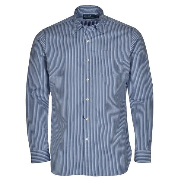 f959e0f1 Shop Ralph Lauren RL Button-Front Dress Shirt Medium Blue White Striped Long  Sleeves - Free Shipping Today - Overstock - 14199689