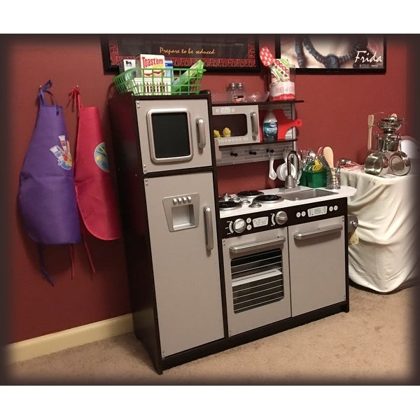 Shop KidKraft Uptown Espresso Kitchen - Silver - Free Shipping Today ...