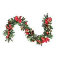"6' x 9"" Pre-Decorated Red Poinsettia and Pine Cone Artificial Christmas Garland - Unlit"