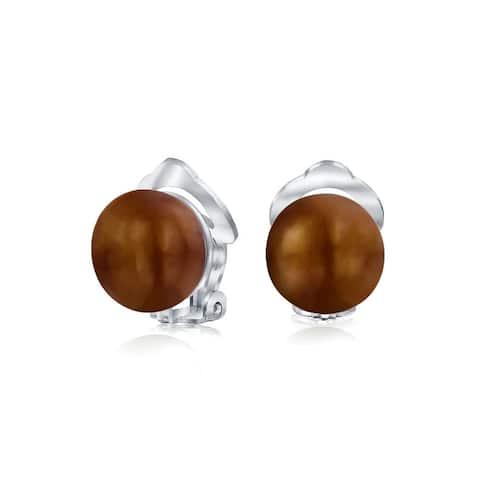 Freshwater Pearl Clip On Ball Stud Earrings Sterling Silver