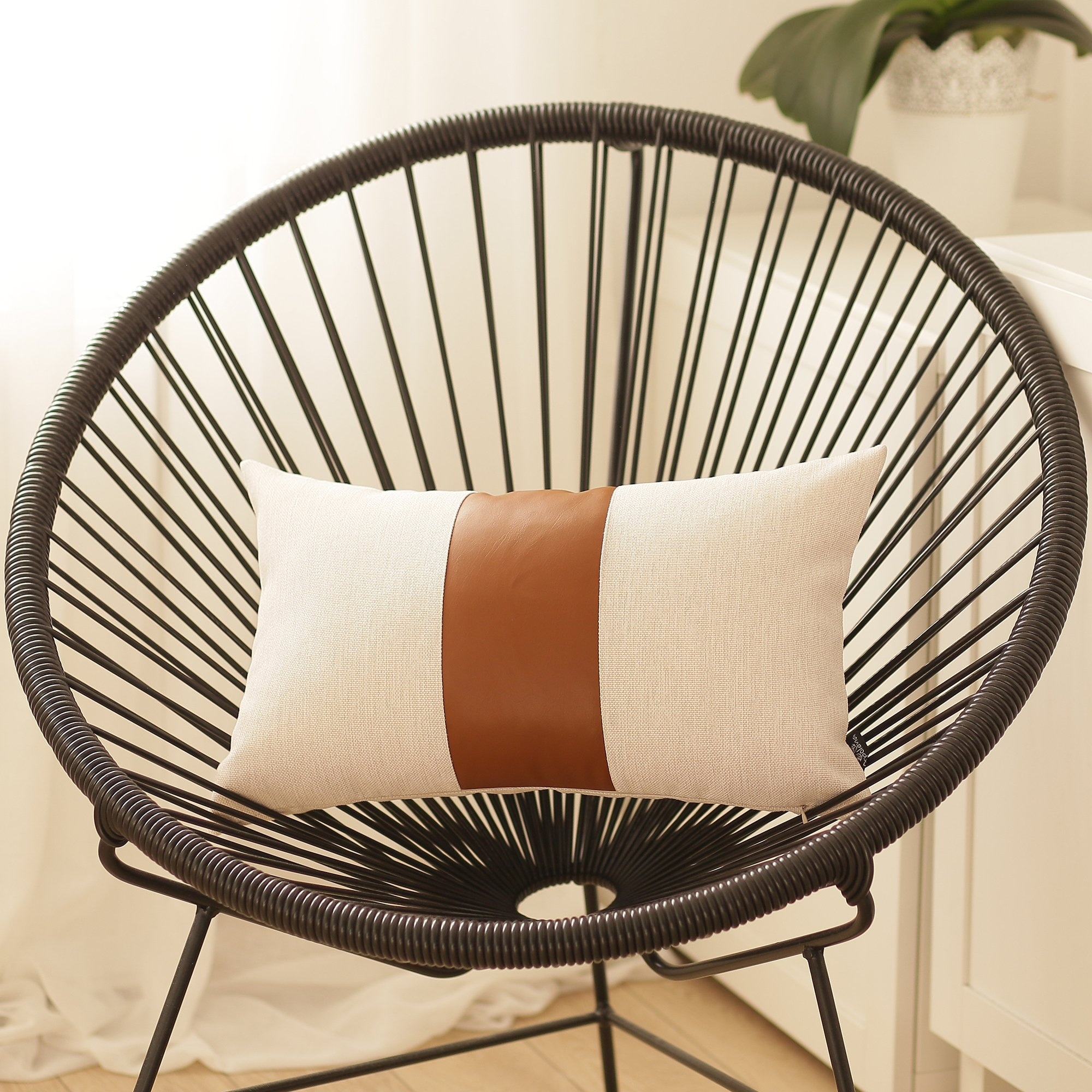 "Decorative Brown Faux Leather Pillowcase 12/""x20/"""