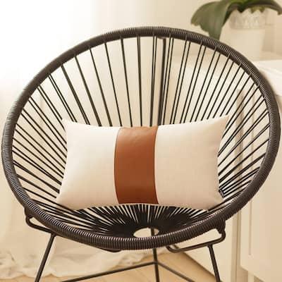 "Decorative Brown Vegan Faux Leather Pillowcase Home Decor 12""x20"""