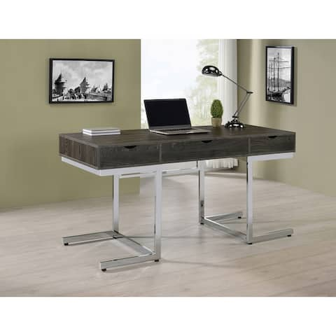 Noorvik Dark Oak and Chrome 3-drawer Writing Desk