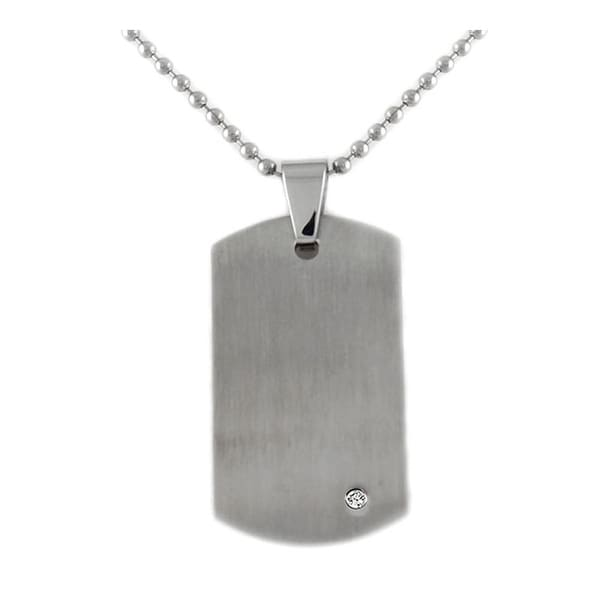 Stainless Steel Brushed Finish Dog Tag with Diamond on 24 Inch Steel Chain