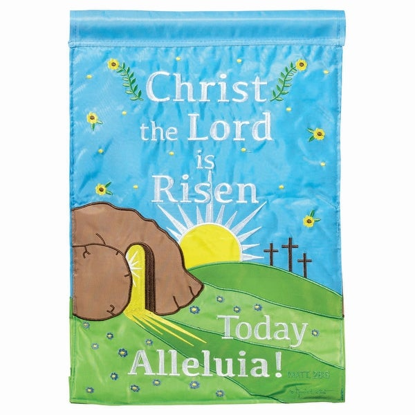 "Blue and Green Christ the Lord is Risen Today Easter Outdoor Garden Flag 18"" x 13"" - N/A"