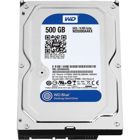 """WD Blue 500GB 7200 RPM HDD SATA 6 Gb/s 16MB Cache 3.5"""" (WD5000AAKX) (Certified Refurbished) - Silver - 5.75 x 4 x 1 inches"""