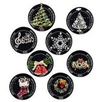 Set of 8 Black and White Decorative Round Christmas Themed Enamel Pins