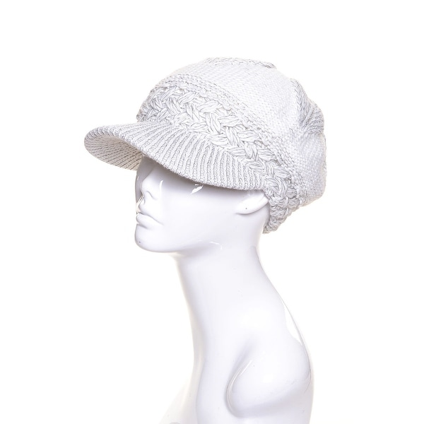 Womens Wool Knit Beanie Visor Lined