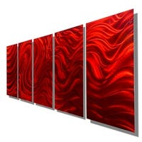 Statements2000 Extra Large Red 5 Panel Metal Wall Art Painting by Jon Allen - Red Hypnotic Sands XL