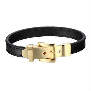 Belt Buckle Bracelet Black Leather Band Stainless Steel Wristband Custom Piece