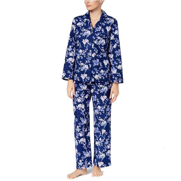 6ea462da5b26 Shop Charter Club Women's Button Down Flannel Pajama Set Rose Garden Floral  Size Extra Large - Blue - X-Large - Free Shipping On Orders Over $45 -  Overstock ...