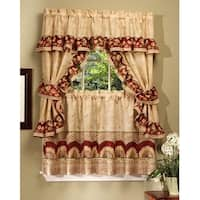 Sunflower Printed Kitchen Curtain With Attached Valance - 57x36 Inches