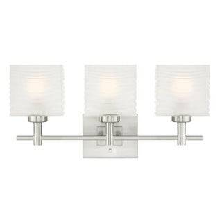 "Westinghouse 6304000 Alexander 23"" Wide 3 Light Bathroom Vanity Light with Glass Shades - Grey"