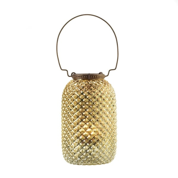 Tall Diamond Candle Lantern - Golden
