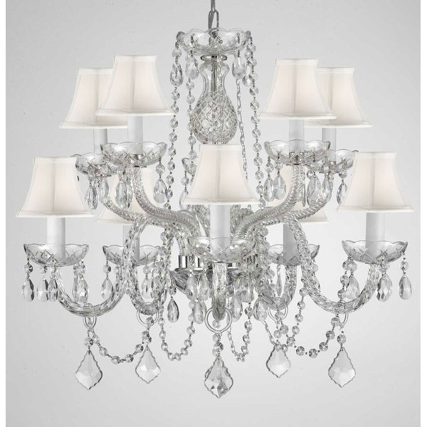Swag Plug In Swarovski Crystal Trimmed Chandelier Lighting Crystal With Shades