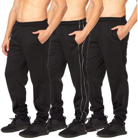 Essential Elements 3 Pack: Men's Tech Fleece Active Performance Athletic Lounge Casual Jogger Sweatpants with Pockets