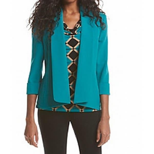 Kasper NEW Lagoon Blue Women's Size 10 Open-Front Seamed Solid Jacket