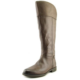 Franco Sarto Christn Women Round Toe Leather Brown Knee High Boot