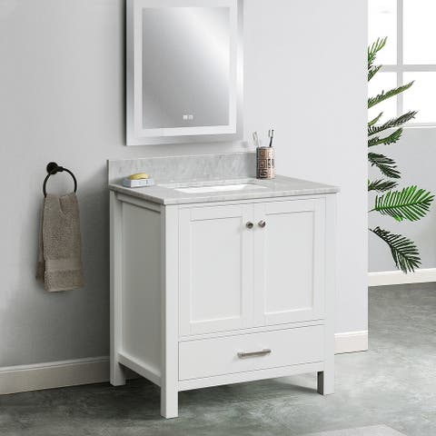"""30"""" Single Solid Wood Bathroom Vanity Set, with Drawers, Carrara White Marble Top, 3 Faucet Hole"""