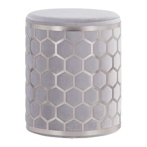 Honeycomb Velvet Ottoman