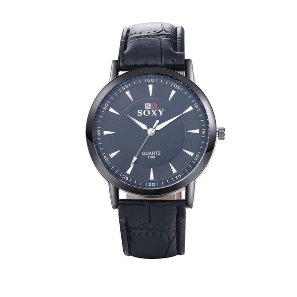 Faux Black Leather Classic Onyx Tone Watch - Brown