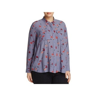 Lucky Brand Womens Plus Blouse Adjustable Sleeves Floral Print