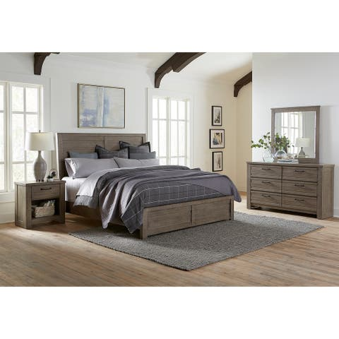 Sedona Transitional Medium Gray Wood Panel Bed with Dresser, Mirror, Two Nightstands