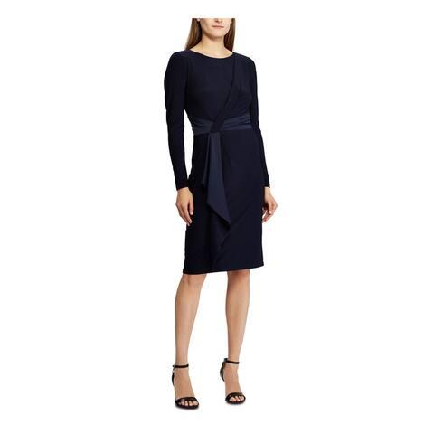 RALPH LAUREN Navy Long Sleeve Knee Length Dress 8