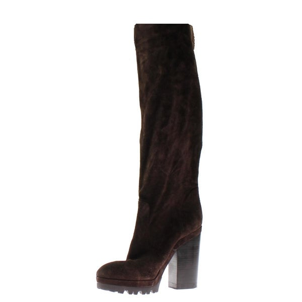 Michael Kors Womens Knee-High Boots Suede Stacked Heel - 41 medium (b,m)