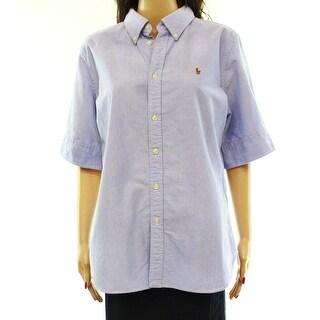Ralph Lauren NEW Blue Women's Size XL Embroidered Button Down Shirt