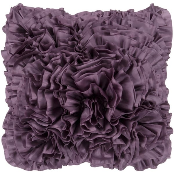 "22"" Purple Plum Lush Ruffle Decorative Down Throw Pillow"