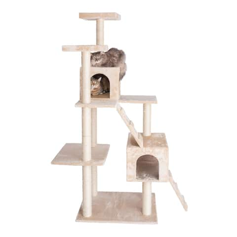 GleePet GP78700 70-Inch Cat Tree With Two Condos & Ramps